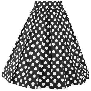 Black and white midi length vintage style skirt